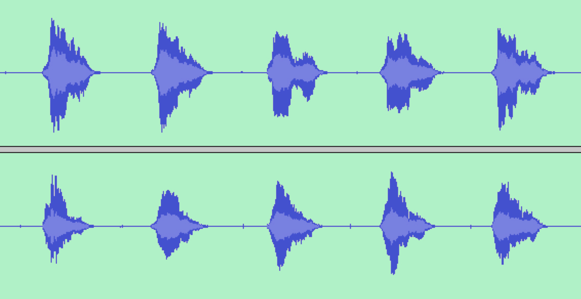 "soundwaves from a recording of the words ""Yanny"" and ""Laurel"""