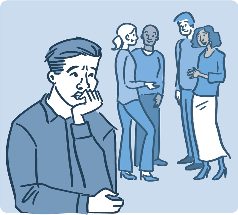 anxious man afraid to enter into a group conversation