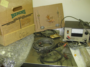 box and equipment on table