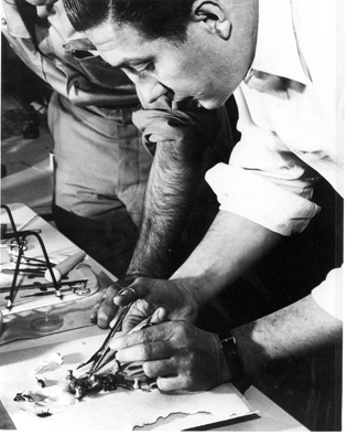 Robert Huebner working at a lab bench