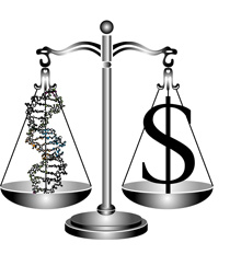 SCALE WITH DNA DOUBLE HELIX ON ONE SIDE AND DOLLAR SIGN ON OTHER