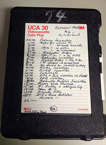 videocassette box with time list of items