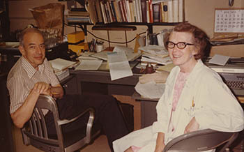 Herb and Celia Tabor in an office in 1972.
