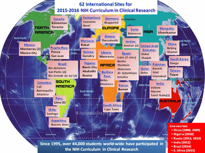 map of world with locations identified for clinical center course
