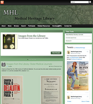 SCREEN SHOT OF MEDICAL HERITAGE LIBRARY WEB PAGE