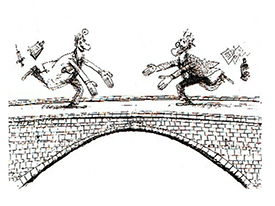 Cartoon showing two men running toward each other on a bridge. One man is a physician, the other is a lab scientist.