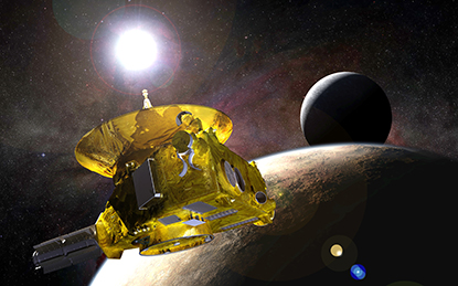 Space probe New Horizons orbiting Pluto. See caption for details.