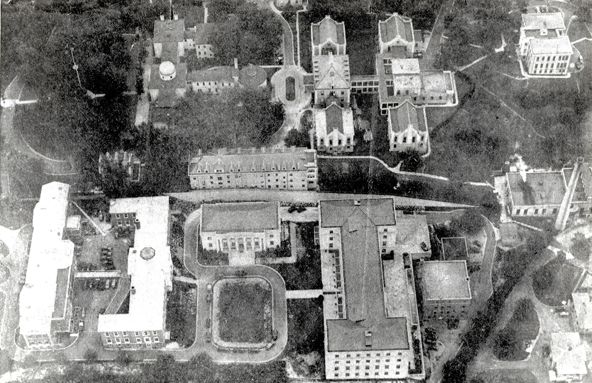 Aerial view of the Navy Hill Campus (see caption)