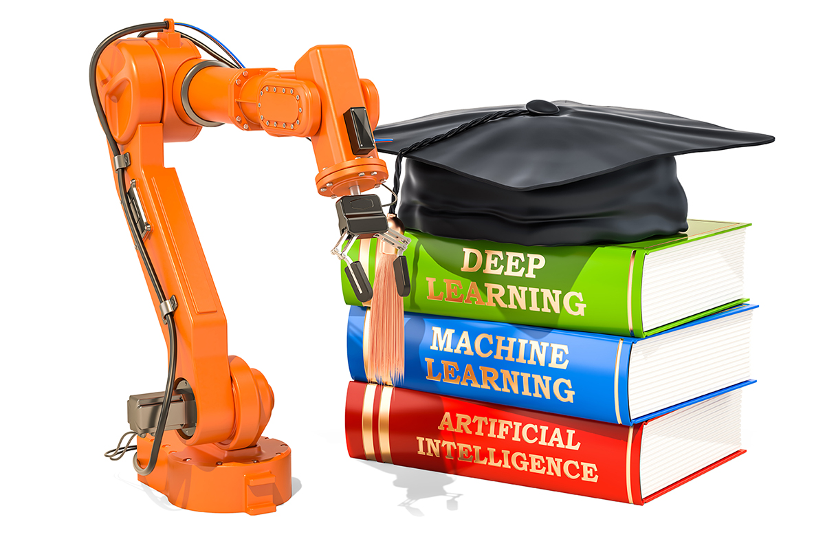robot arm and books stacked up--Machine Learning, Deep Learning, and Artificial Intelligence. Graduation cap sitting on top of pile of books