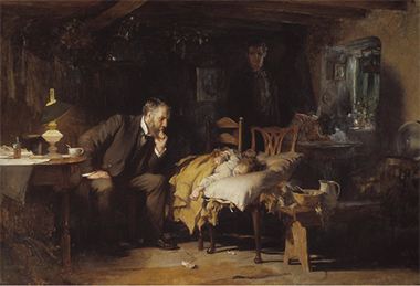 painting of a doctor at the bedside of a little girl who is his patient; mother looking on in the background