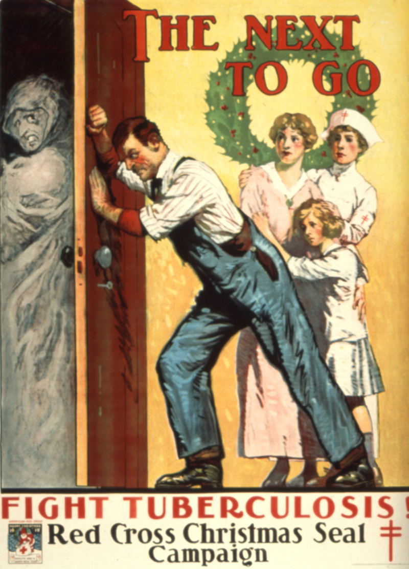 Color illustration showing a man pushing against a door to keep out a shrouded gray figure representing tuberculosis. A nurse stands nearby protecting a woman and a little girl.