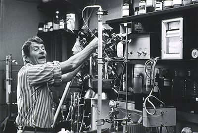 Christian Anfinsen in his lab (see caption).