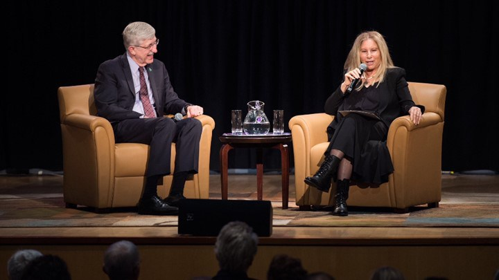 Barbra Streisand with NIH Director Francis Collins