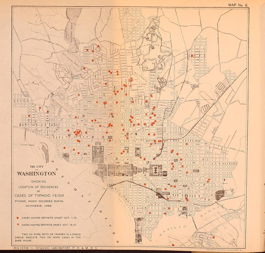A map of the typhoid fever epidemic that William Lindgren helped to investigate