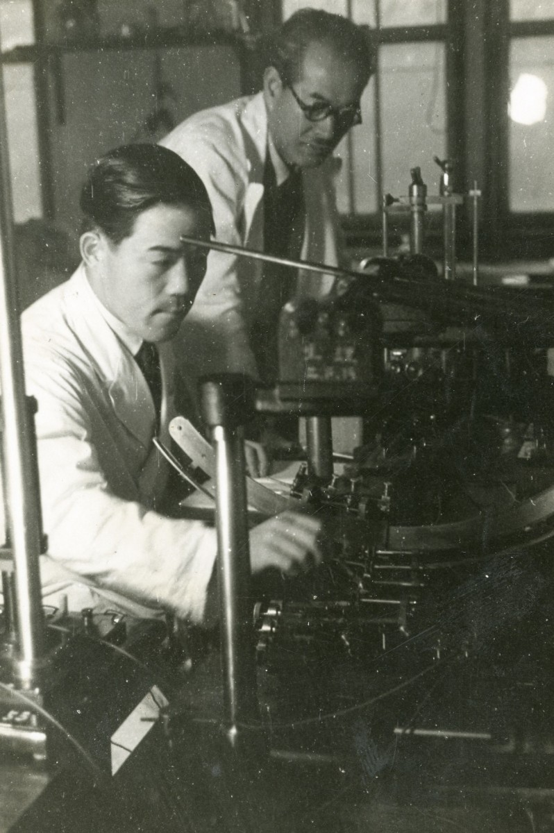 Dr. Ichiki Tasaki and an unknown scientist colleague