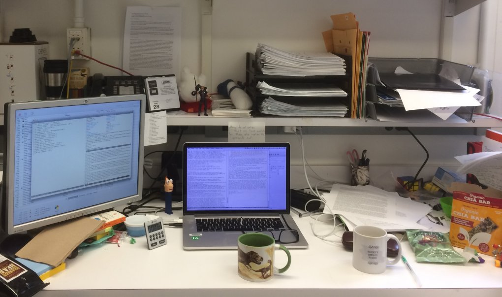 Alex's desk in the lab has a laptop, monitor and neatly organized papers (plus some dinosaur coffee mugs)