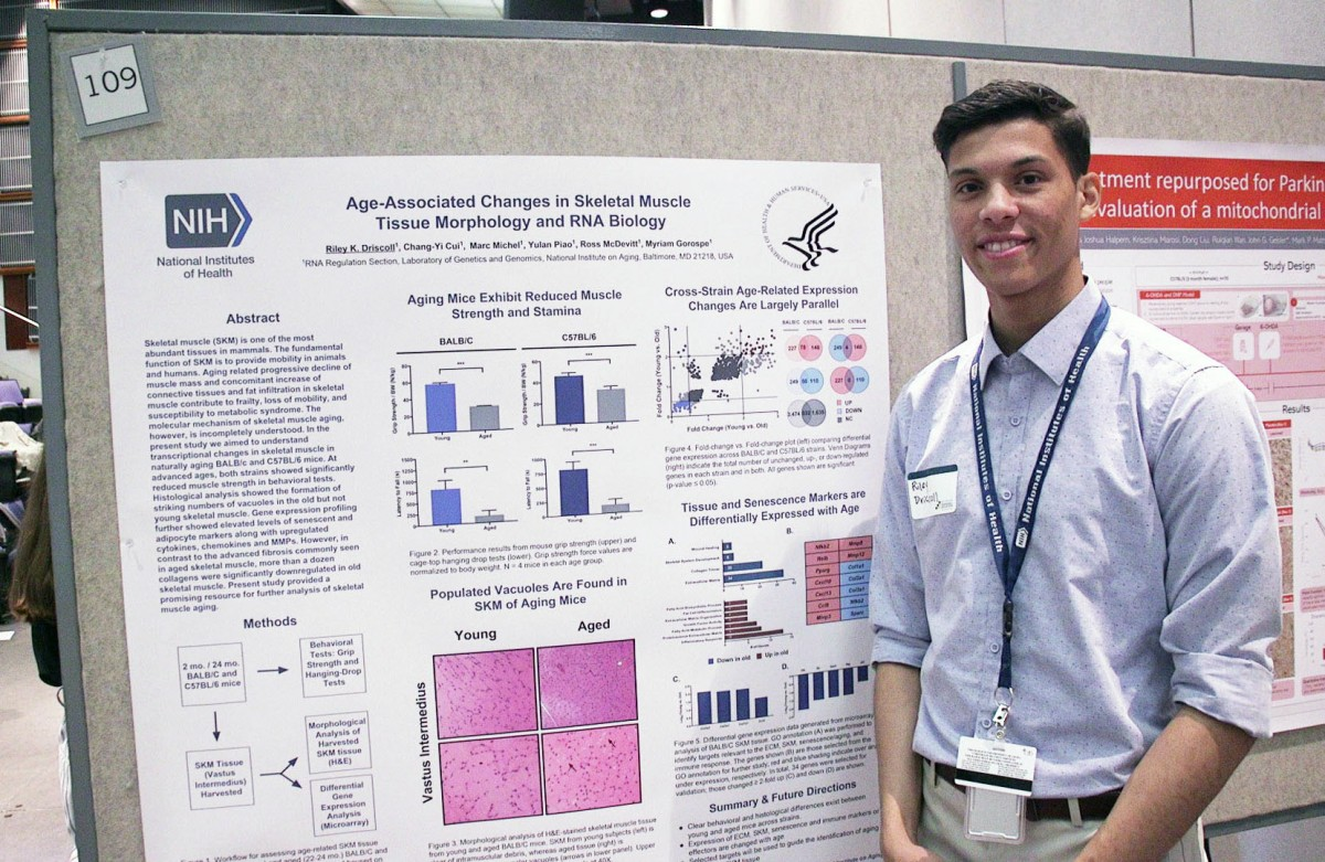 NIH summer intern Riley Driscoll at Summer Poster Day