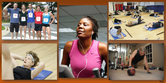 Five images of different exercise activities