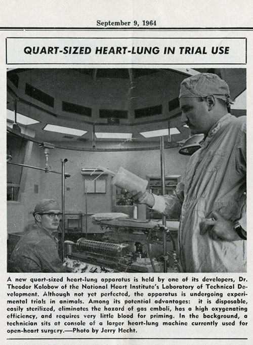 NIH record article on Dr. Kolobow's disposable heart-lung device