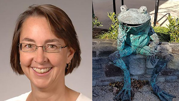 Dr. Gisela Storz and frog statue at the NIH's Anita B. Roberts Contemplation Garden