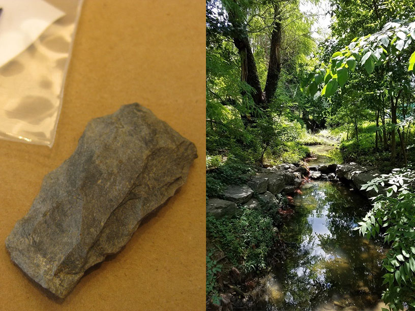 Native American stone artifact (left) and the stream on the NIH main campus where it was found (right)