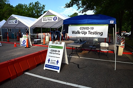walk-up COVID-19 testing sites on an NIH campus in North Carolina