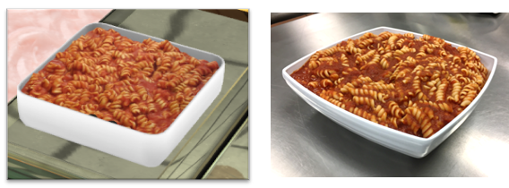 Pasta from the virtual buffet (left) closely resembles real pasta made by the Clinical Center's Metabolic Kitchen (right).